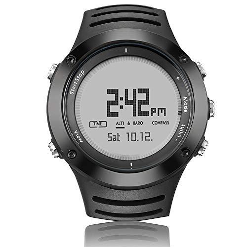 CETLFM Orologio da Uomo Sportivo Digitale, Orologio da Nuoto per Corsa all'aperto, Orologio da Uomo con termometro a Bussola per altimetro,Argento