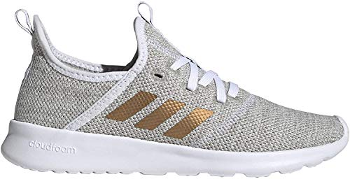 adidas Womens Cloudfoam Pure Sneaker, Footwear White/Tactile Gold Metallic/Metal Grey, 38 2/3 EU