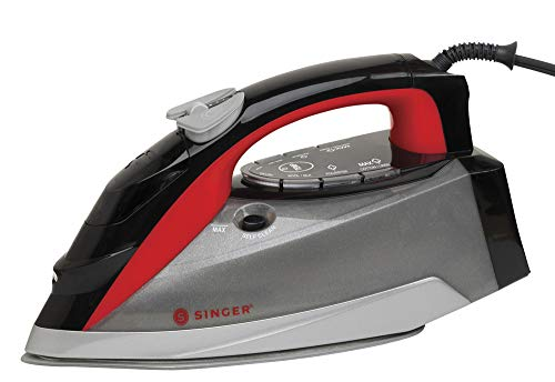 SINGER SteamLogic Plus 7070 Iron with 1775 Watts, 45 Minutes of Continuous Steam Output, and 300 ml Tank Capacity, Red