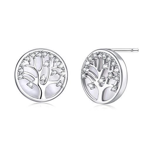 MEGACHIC Pendientes Árbol de la Vida para Mujer Plata 925 con Nácar Cristales