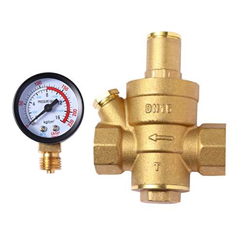 iplusmile Messing Wasser Druckregelventil Wasser Reduzierventil Überdruckventil Einstellbar Wasser Druckminderer Ventil für zu Hause Wasserleitung Dn15 4-Cent