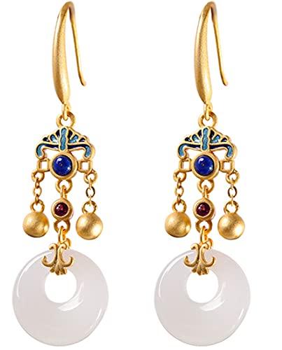 CHXISHOP Pendientes de Borla Jade Hetian Jade para Mujer, joyería de Plata de Ley 925, Estilo étnico Quemado de Estilo Azul Palacio de Palacio