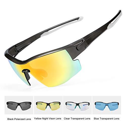 INBIKE Gafas Sol Polarizadas Ciclismo Con 5 Lentes De Pc Intercambiables y Montura De TR90, Gafas Uv400 De Mtb Bicicleta Deportivas Antivaho Unisex-Adulto(armadura color de titanio + lente naranja)