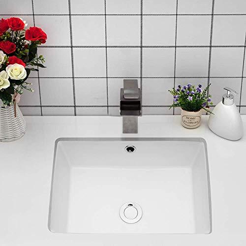 Undermount Bathroom Sink Rectangle - Loymey 18'x12' Bathroom Sink Pure White Rectangle Porcelain Ceramic Lavatory Vanity Vessel Sink Bowl Basin