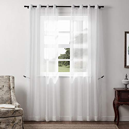ChadMade Extra Long Natural Linen Sheer Curtain Nickel Grommet White Semi Sheer 84' W x 102' L