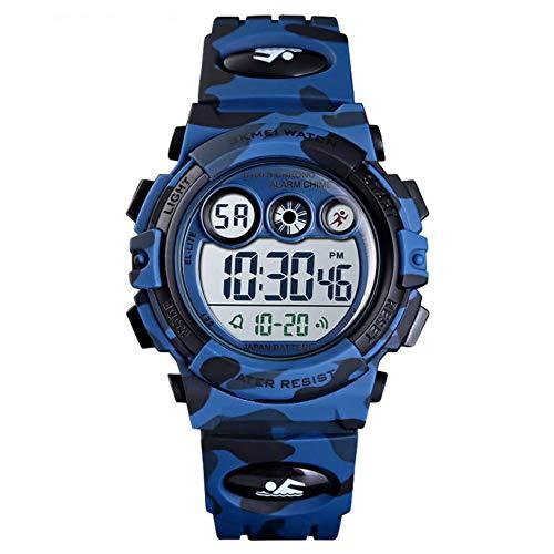 Kinderen kijken XYDBB Kinderen Led Elektronisch Digitaal Horloge Stopwatch Klok 2 Tijd Kinderen Sport 50m Polshorloge Voor Zoals afgebeeld2 donkerblauw