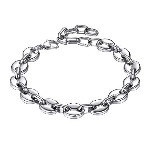 ChainsHouse Herren Armband Edelstahl Kaffebohne Armband Herren Damen Silber Gold Kaffeebohne Curb panzerarmband mit Geschenkebox