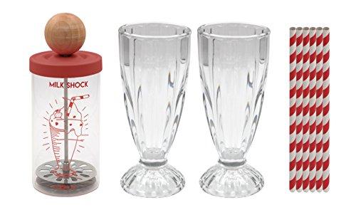 COOKUT - Shaker Milk Shock - Obtenez Un délicieux Milkshake en 20 Secondes - Coffret Complet avec Shaker 2 Verres et 6 pailles - sans électricité ni Autre ustensile
