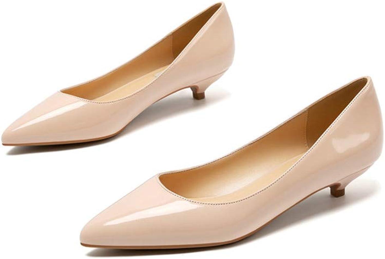 Ladies shoes Black Pumps Patent Leather 3CM Low Heel shoes Nude Office shoes Elegant Women Wedding