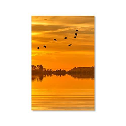 yaoxingfu Rahmenlose Nordic Sonnenuntergang Waldsee Landschaft Dekoration NGS für Wohnzimmer...