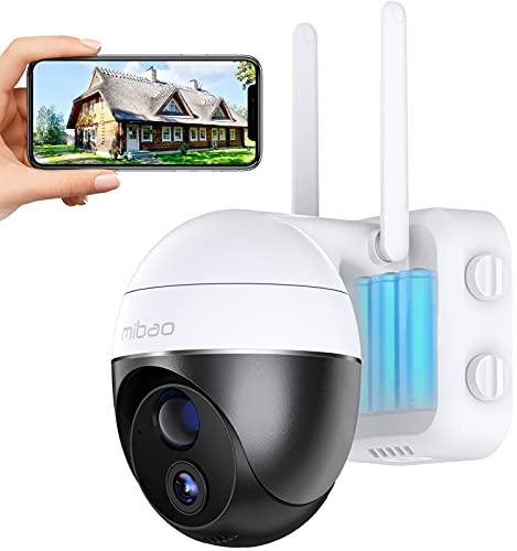 15000mAh Cámara Vigilancia Batería Mibao, Calidad de Imagen 1080 HD, Visión Nocturna, Protección Completa de 360 °, Audio Bidireccional, Detección de Movimiento, Soporte para Tarjeta SD