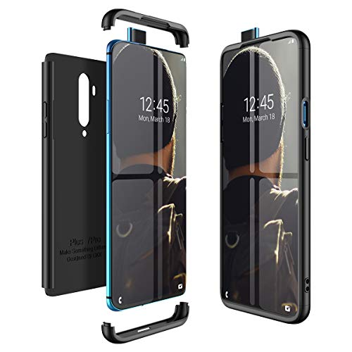 CE-Link Kompatibel mit OnePlus 7T Pro Hülle Hardcase 3 in 1 Handyhülle 360 Grad Schutz Ultra Dünn Slim Hard Full Body Case Cover Backcover Schutzhülle Bumper - Schwarz