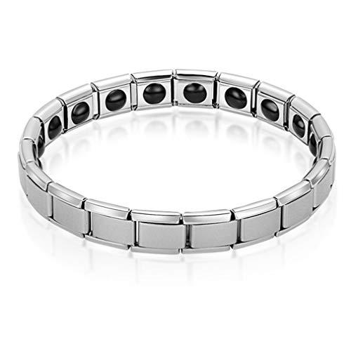 SeniorMar-UK Magnetfeldtherapie-ArmbandEdelstahl-Armband Energie-Magnet-Armband Mode breiter Armreif für Mann Frau Silber einschichtig