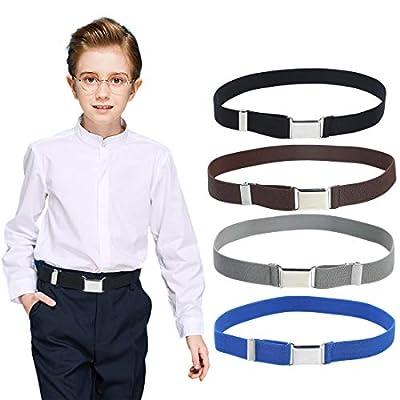 4PCS Kids Boys Elastic Buckle Belt - Adjustable Belt with Silver Square Buckle(Coffee/Dark Grey/Black/Royal Blue)