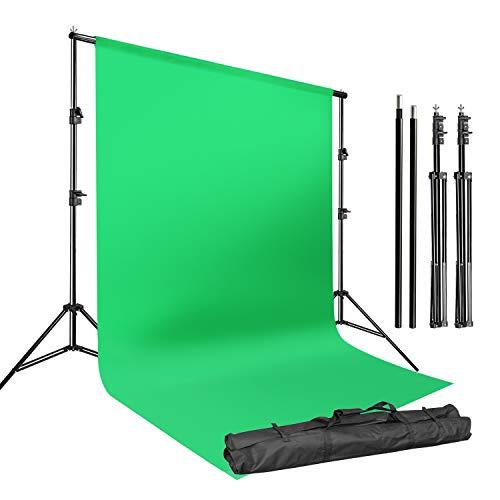 LS LIMO STUDIO LIMOSTUDIO estudio fotográfico de 3 m soporte de fondo ajustable con fondo verde de tela de muselina para fotografía,...