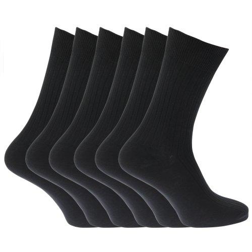 Universal Textiles - Chaussette côtelées pour hommes 100% coton x 6 - 39-45, Noir