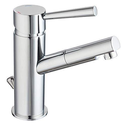 Niederdruck Armatur für Waschtisch Einhebel-mischer Waschbecken Bad Wasserhahn chrom inkl. Ablaufgarnitur mit Zugstange