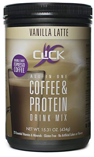 CLICK All-in-One Protein & Coffee Meal Replacement Drink Mix, Vanilla Latte, 15.3 Ounce