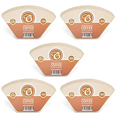400 Size 100 Coffee Filter Paper Cones, Unbleached for Melitta Aromaboy by EDESIA ESPRESS