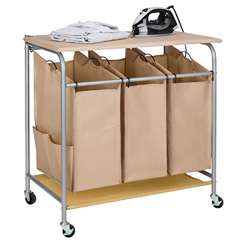 JINAMART Brown Heavy Duty Laundry Sorter with Ironing Board 3 Bag Laundry Hamper Basket with Wheels Storage Cart + 2 Pockets Each (3 Bags with Iron Board, Beige)