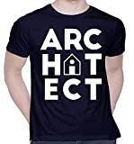 CreativiT Graphic Printed T-Shirt for Unisex Architect Tshirt | Casual Half Sleeve Round Neck T-Shirt | 100% Cotton | D00777-7_Navy Blue_Large