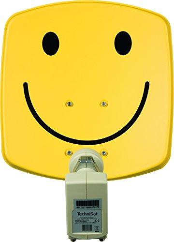 TechniSat DIGIDISH 33 – Satelliten-Schüssel für 2 Teilnehmer (33 cm kleine Sat Anlage - Komplettset mit Wandhalterung und Universal Twin-LNB)  smiley-gelb