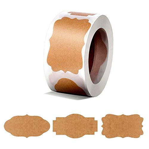Maliwan Etiquetas de papel kraft marrón natural, pegatinas autoadhesivas para botellas de especias y frascos, etiquetas de regalo, un rollo de 300 etiquetas (B)