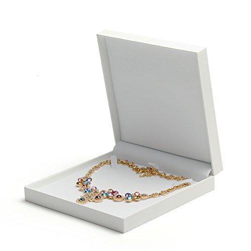 Oirlv Hochwertiger Leder Papier Schmuck Große Halskette Box kann für Valentinstag Jubiläum weiße Große Halskette Box werden