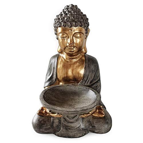 Rivanto® Sitzende Buddha Statue mit Vogeltränke, Höhe 45 cm, Steinoptik Deko Figur mit goldener Haut, für Innen & Außenbereich