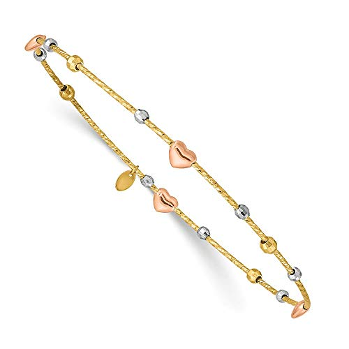 14k Tri Color Yellow White Gold Heart Slip On Bangle Bracelet Cuff Expandable Stackable Fine Jewelry For Women Gifts For Her