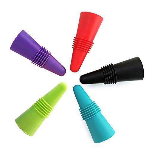 Xhwykzz - Tapones para botellas de vino, 5 unidades, silicona de colores + tapones de acero inoxidable, tapones para botellas de bebidas, tapones de vino