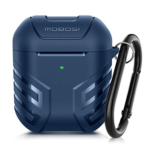 MOBOSI Vanguard Armor Series AirPods Case Cover Designed for AirPods 2 & 1, Full-Body Protective Military AirPod Case with Keychain for AirPods Wireless Charging Case, Dark Blue [Front LED Visible]