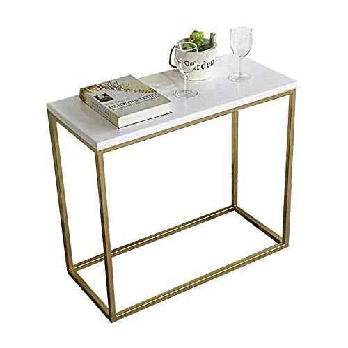 Productos para el hogar Entrada Way Consola Mesa de sofá con estructura de metal resistente con tapa de madera resistente a los arañazos Mini balcón Mesa de ocio Sala de estar Soporte de mesa peque