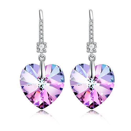 Etanoluv Women Rhodium Plated Heart Crystals from Swarovski Earrings Birthday Gift