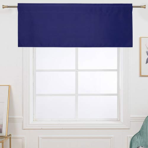 Navy Blue Valance 15 Inch Length for Windows Blackout Thermal Insualted Rod Pocket Admiral Blue Valances for Kitchen Windows 42x15 Long 1 Panel