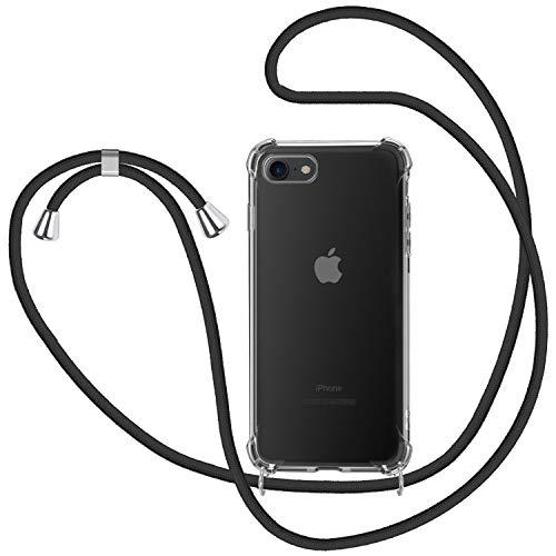 Funda con Cuerda para Apple iPhone 7/ iPhone 8/ iPhone SE 2020, Carcasa Transparente TPU Suave Silicona Case con Correa Colgante Ajustable Collar Correa de Cuello Cadena Cordón - Negro