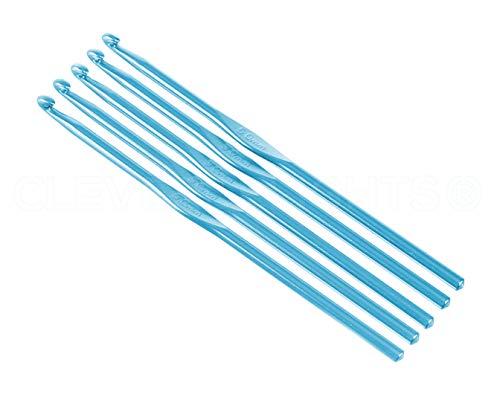 5 Pack - CleverDelights Size H (Size 8) Aluminum Crochet Hooks - 6' Length - 5mm Diameter - Knitting