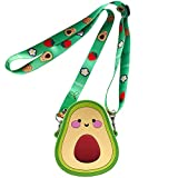 SGVAHY 3D Cartoon Avocado Silicone Coin Wallets Cute Purse Headset Bag Makeup and Hair Accessories Bag Fun Toy Silicone Key Coin Gifts Children Goodie Bag with Lanyard (Avocado)