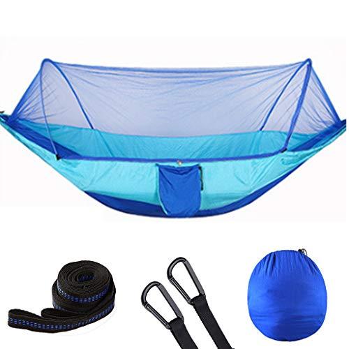 AJDGL Hamac de Camping avec moustiquaire - Hamac léger et en Nylon avec des Sangles d'arbre pour la randonnée Backpacking Backyard, Easy Assembly,Light Blue