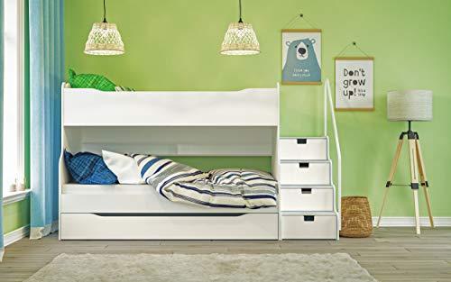 Max 4 Etagenbett mit Schubkastentreppe in Weiß Hochbett Kinderbett Bett