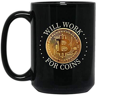 N\A Taza de Bitcoin - Taza de café de criptomonedas - Palabra para Monedas, Taza Divertida - Regalo para comerciante de Bitcoins o minero