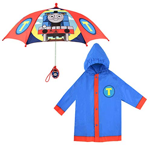 Mattel Little Kids Umbrella and Slicker, Thomas and Friends Toddler Boy Rain Wear Set, for Ages 2-5, Blue/Red, Medium, Age 4-5