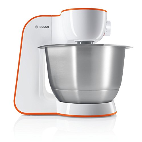 Bosch MUM5 StartLine Küchenmaschine MUM54I00, vielseitig einsetzbar, große Edelstahl-Schüssel (3,9l), Patisserie-Set aus Edelstahl, spülmaschinenfest, 900 W, weiß/orange