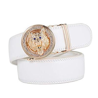 """Men's Belt Fashion Comfort Leather Gold/Silver Tiger Lion Dress Belt Adjustable Buckle (W-White-Gold, Waist Size 22"""" - 43"""")"""