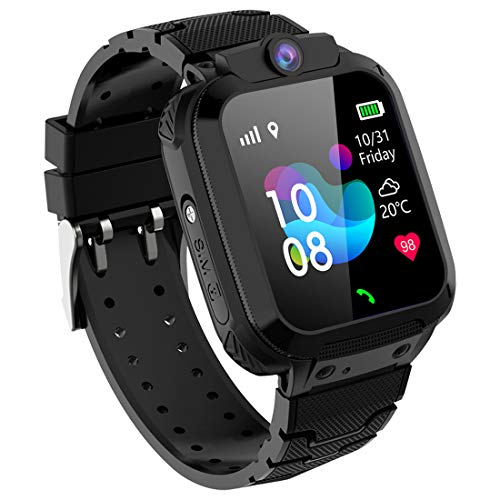 PTHTECHUS Kinder Smart Watch GPS Tracker, Wasserdichtes Smartwatches Telefon für Kinder Mädchen Jungen Urlaub Geburtstagsgeschenk, Kinder GPS Watch Touchscreen mit SOS Telefonanruf Voice Chat Locator