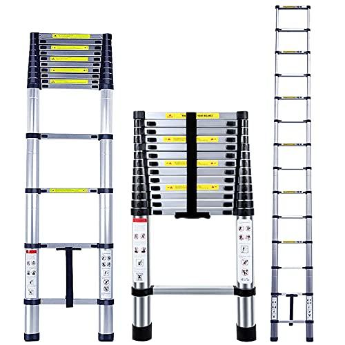 4.1M Escalera Telescópica Aluminio Multiusos Portátil Escalera Plegable para Trabajo en Interiores y Exteriores