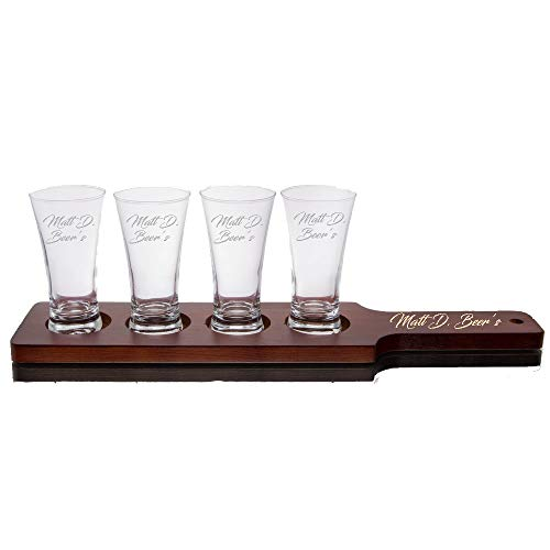 Personalized Flight Sampler Paddle & Four 5.5oz Pilsner Tasting Glass   Beer Tasting Serving Set - Wood Paddle & 4 Glasses