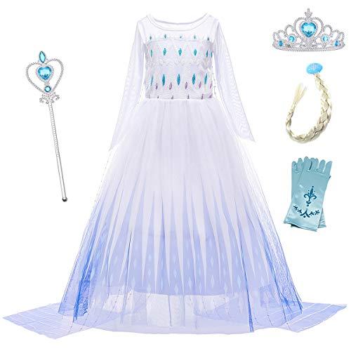 YOSICIL Eiskönigin 2 Prinzessin ELSA Kostüm Ice Queen Kinder Kleid Weißes Prinzessinnen-Kostüm Schneekönigin Kostüme Cosplay Fasching Geburtstag Kleider Lange Ärmel mit Zubehör
