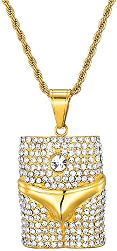 NC190 Bing Iced out Sexy Underwear Colgantes Collares Hombres Acero Inoxidable Rock Crystal Rapper Hip Hop Cool Street Jewelry