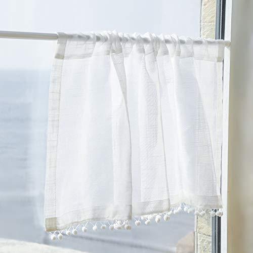 TheDe5k Bistrogardine Landhausstil Leinen Kurzgardine mit Zierkugeln Gardine Vorhang für Küchen Balkon (Weiss, 132x 45cm)